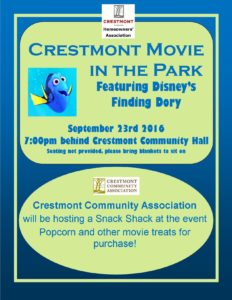 Movie In The Park Moved To September 23rd The Crestmont Community Association